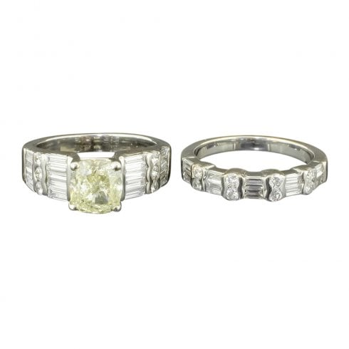 Natural Yellow and Mixed Cut White Diamond Ring Set
