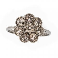 Old Cut Champagne Diamond Floral Cluster Ring