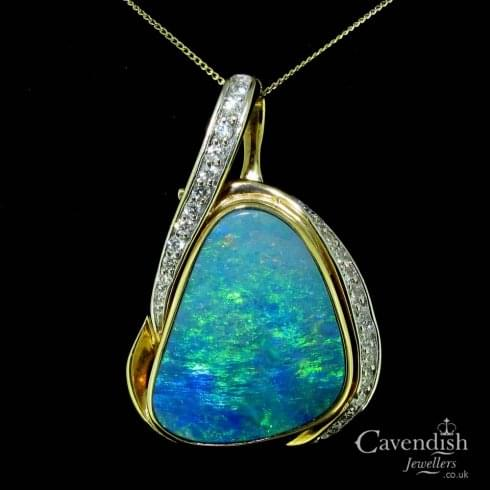 Opal And Diamond Set Pendant And Chain
