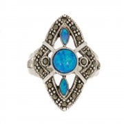 Opal And Marcasite Tablet Ring