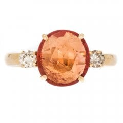 Orange Sapphire And Diamond Solitaire Ring