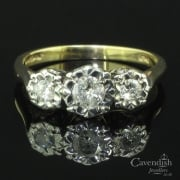 Ornate 9ct Gold Diamond Three Stone Ring