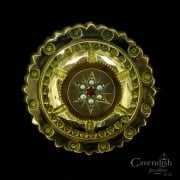 Ornate 9ct Gold, Ruby & Seed Pearl Mourning Brooch