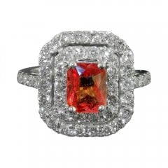 Padparadscha Sapphire And Diamond Cluster Ring