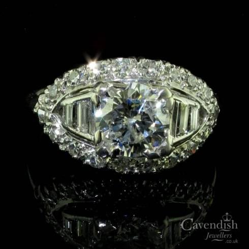 Platinum And Diamond Cluster Ring Circa 1930