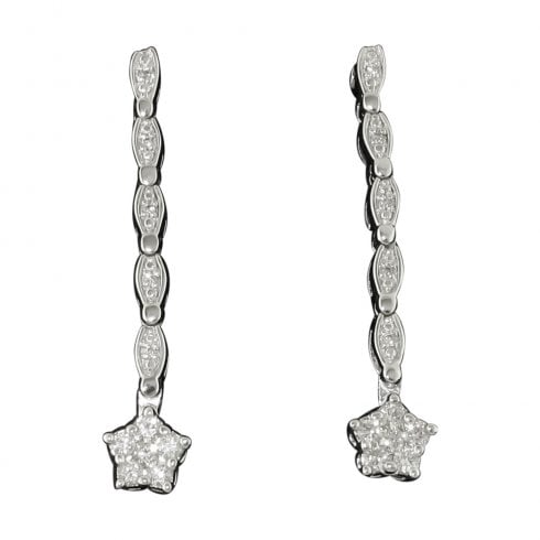 Platinum On Silver Diamond Drop 2 Way Earrings