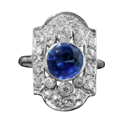 Platinum Sapphire And Diamond Tablet Ring