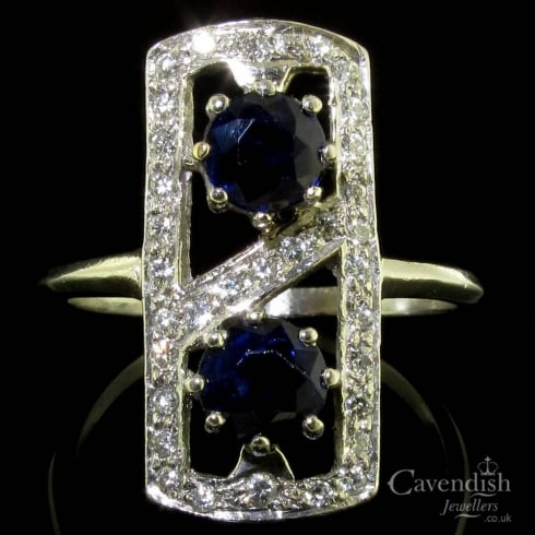 Platinum Sapphire & Diamond Art Deco Tablet Style Cluster Ring