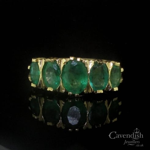 Pleasing 9ct Gold Five Stone Emerald Ring