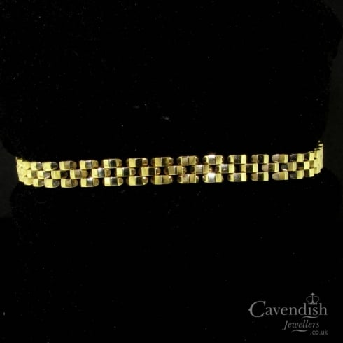 Pleasing 9ct Gold Three Row Link Bracelet