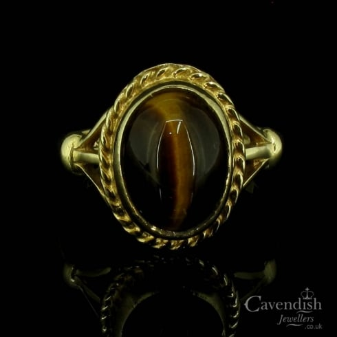 Pleasing 9ct Gold Tiger's Eye Ring