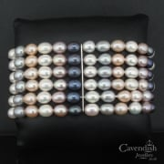 Pleasing Silver And Cultured Pearl 6 Row Bracelet