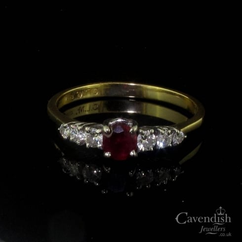 Pleasing Vintage 18ct Gold Ruby and Diamond Ring