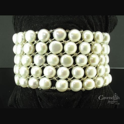 Pretty 5 Row Cultured Pearl & Glass Bead Bangle
