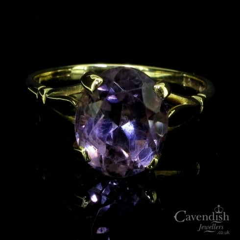 Pretty 9ct Gold Amethyst Solitaire Ring
