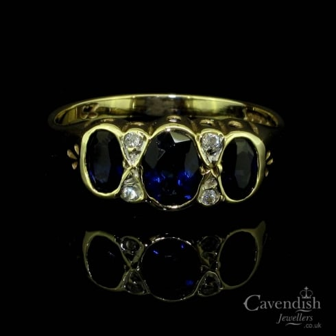 Pretty 9ct Gold, Blue And White Cubic Zirconia Trilogy Ring