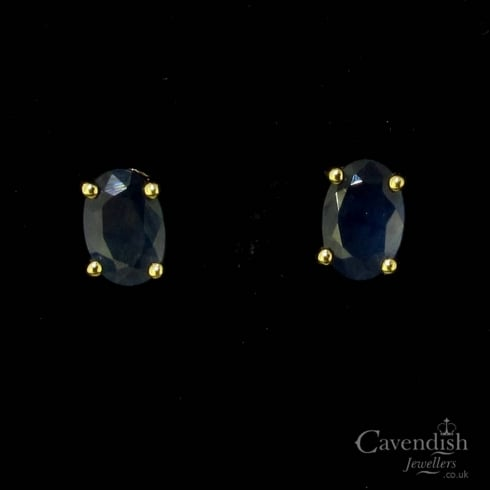 Pretty 9ct Gold Oval Faceted Sapphire Stud Earrings