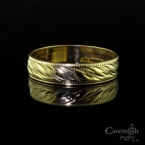 Pretty 9ct Gold Patterened Wedding Band Ring
