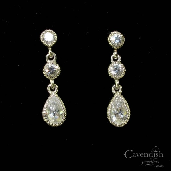 368e1c4ea Pretty 9ct White Gold Cubic Zirconia Drop Earrings - Earrings from  Cavendish Jewellers Ltd UK