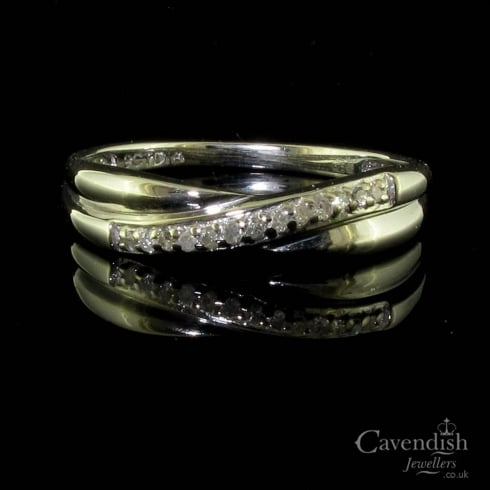 Pretty 9ct White Gold Diamond Twist Half Hoop Ring