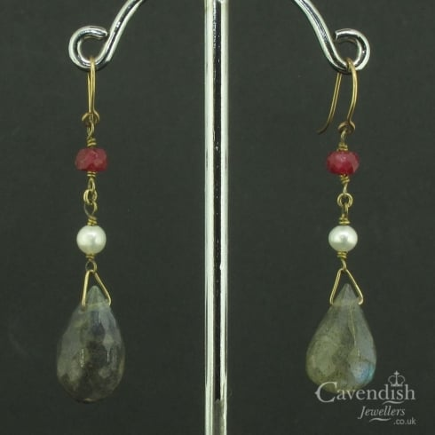 Pretty Labradorite Ruby and Pearl Drop Earrings