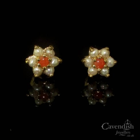 Pretty Pearl and Coral Stud Earrings