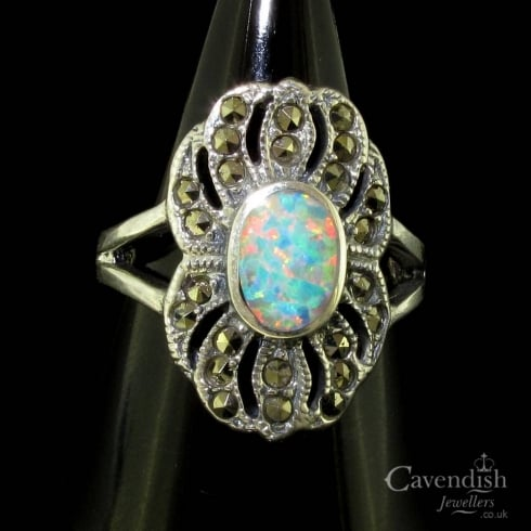 Pretty Silver Opal and Marcasite Dress Ring
