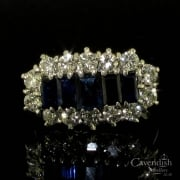 Radiant 18ct White Gold Sapphire and Diamond Cluster Ring