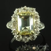 Radiant Platinum, Heliodore (Yellow Beryl) And Diamond Ring