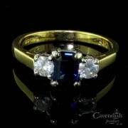 Refined 18ct Gold, Sapphire And Diamond Trilogy Ring