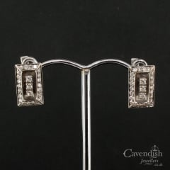 Refined 18ct White Gold & Diamond Rectangular Earrings