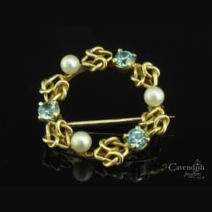Refined 9ct Gold, Blue Zircon & Cultured Pearl Brooch