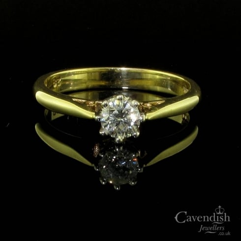 Refined 9ct Gold Diamond Solitaire Ring