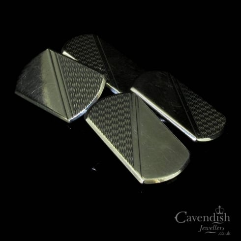 Refined Silver Patterned Oblong Cufflinks