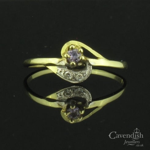 Refined Yellow Gold And Cubic Zirconia Ring