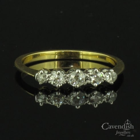 Remarkable Gold & Old Cut Diamond 5 Stone Ring