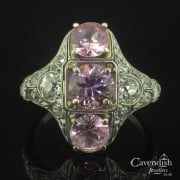 Remarkable Platinum, Pink Sapphire And Diamond Tablet Ring