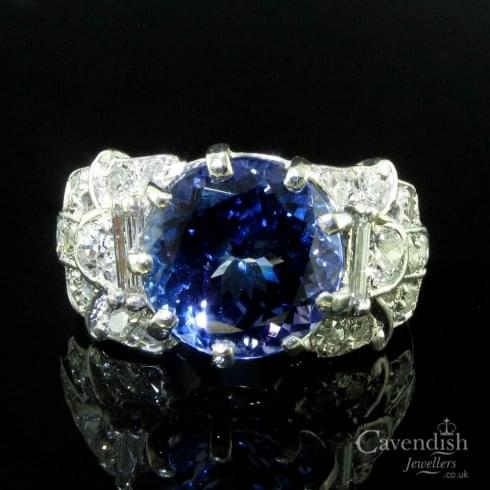 Remarkable Platinum Tanzanite & Diamond Solitaire Cluster Ring