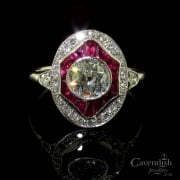 Resplendent Diamond & Ruby Cluster Ring