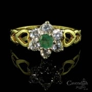 Romantic 9ct Gold Emerald & Cubic Zirconia Cluster Ring