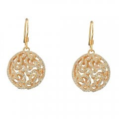 Rose Gold Plate on Silver Cubic Zirconia Drop Earrings