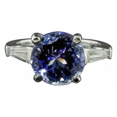 Round Cut Tanzanite And Diamond Solitaire Ring