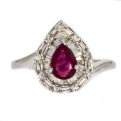 Ruby and Diamond Pear Cluster Ring