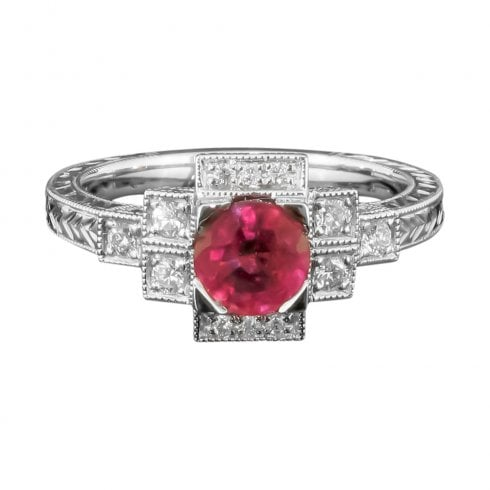 Ruby & Diamond Art Deco Style Ring