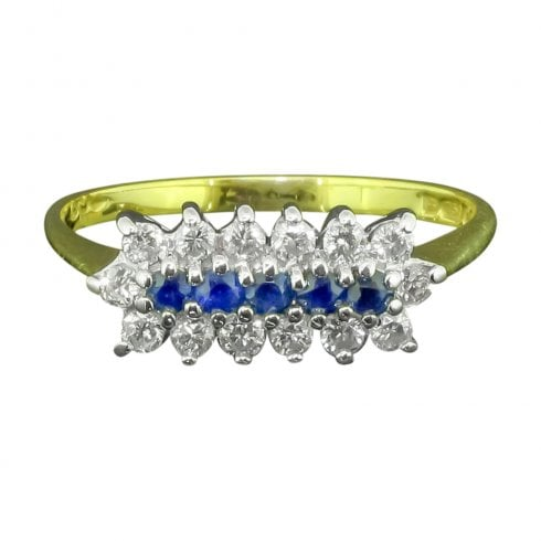 Sapphire And Diamond Boat Style Ring