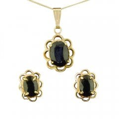 Sapphire Set Earring And Pendant Necklace Set