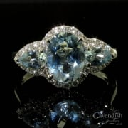 Sensational 18ct White Gold Aquamarine and Diamond Cluster Ring