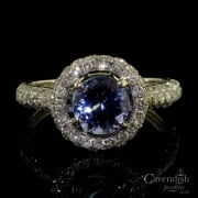 Sensational 18ct White Gold, Tanzanite & Diamond Halo Ring