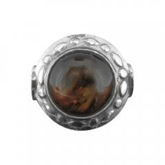 Silver And Amber Dress Ring