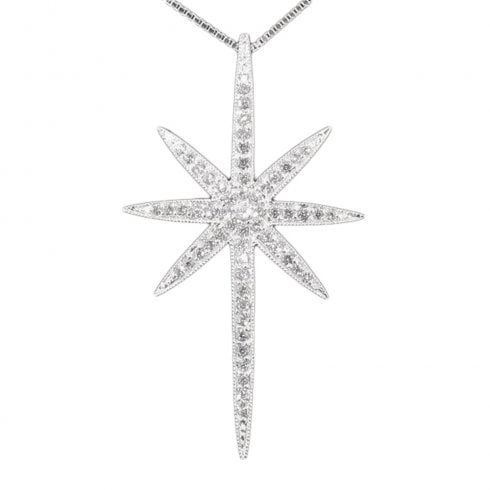 Silver And C Z North Star Pendant Previously 148.00